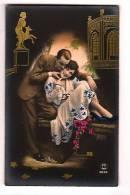 Superbe Couple Art Deco ,fond Noir Bromure, Ajout Or - Studio PC Paris 3046, Colorized Golden Addition, - Parejas