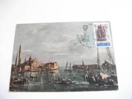 STORIA POSTALE Cartolina Annullo L'italia Per Venezia   Venezia 1973 Guardi  Bacino San Marco - 6. 1946-.. Repubblica