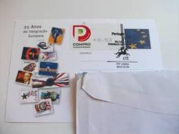STORIA POSTALE Cartolina Annullo Speciale Portogallo  25 Anos De Integracao Europeia - Lettere