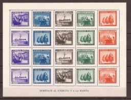 ES849-L3734THC.España.Spain. Espagne HB HOMENAJE AL EJERCITO Y LA MARINA 1938.(Ed 849**)sin Charnela - Hojas Conmemorativas