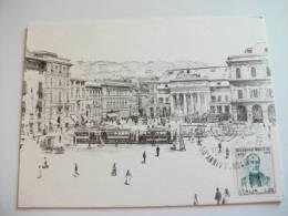 STORIA POSTALE  Annullo Speciale 50° Ann. Fondazione Acompagna  Genova Biglietto Arti Grafiche Ricordi Piazza De Ferrari - 6. 1946-.. Repubblica