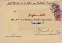 BG - 2  - Bief V. Hess.Ministerium F.Arbei Darmstadt N. O'bürgermstr. Offenbach 20.8.23  D 81 MeF - Covers & Documents
