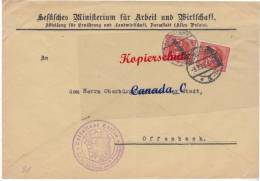 BG - 2  - Bief V. Hess.Ministerium F.Arbei Darmstadt (Altes Palais)  N. O´bürgermstr. Offenbach 3.8.23  D 81 MeF - Covers & Documents