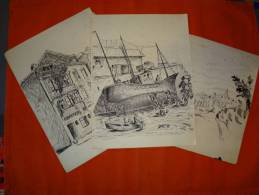 3 Dessins Originaux De D. Galoppe Non Signé - Dessins