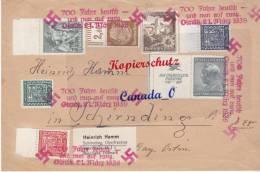 BG - 2  - Brief Mischfrank. DR + Tsc Hesch.  Stemoel 700 Jahre Olmnitz  Frfei !!   21.3.39 - Covers & Documents