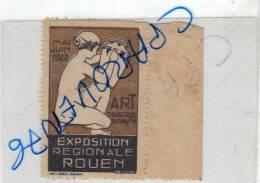 Timbre Vignette Exposition Régionale Rouen Mai Juin 1923 Art Industrile Décoratif - Erinnophilie