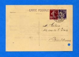 CARTE POSTALE PAIX 55c Violet  + Complément  à 15C Date 830 - Ct De STRASBOURG  CATHEDRALE -Repiquage DROGUERIE St MARC - Entiers Postaux