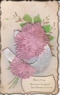 Bonne Année - Rose En Tissu Sur Fer à Cheval Collé Sur La Carte - Edition P.F. - 2 Scans - - New Year