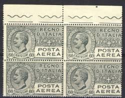 Regno 1926-28 Posta Aerea, Serie 1500, N. 3 C. 60 Grigio, Quartina  Bordo Foglio  MNH Cat. € 60 - 1900-44 Victor Emmanuel III.
