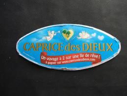 """Etiquette Couvercle Fromage CAPRICE DES DIEUX St Valentin """"Voyage île De Rêve"""" (petit Format) - Fromage"""