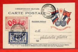 BELGIQUE 1914/1915 VIGNETTE RUSSE NICOLAS II 1 ROUBLE ET VIGNETTE DES ALLIES  SUR CARTE FRANCHISE MILITAIRE - Commemorative Labels