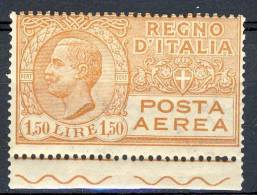 Regno VE3, 1926-28 Posta Aerea, Serie 1500, N. 6 Arancio Bruno, Bordo Foglio MNH  Cat. € 60 - 1900-44 Victor Emmanuel III.