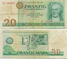 DDR 1975, 20 Mark, Staatsbank Der DDR, Goethe, KN 6stellig, Geldschein, Banknote - [ 6] 1949-1990 : GDR - German Dem. Rep.