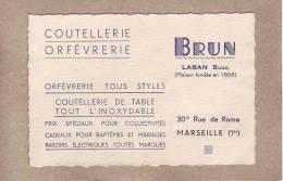 BOUCHE DU RHÔNE - MARSEILLE - CARTE DE VISITE - COUTELLERIE ORFEVRERIE - BRUN , LABAN SUCC. - 120 X 80 Mm - Tarjetas De Visita