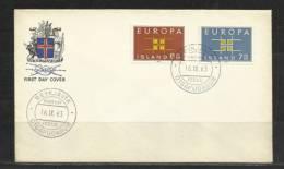 TOP!! ISLAND * EUROPA ERSTTAGSBRIEF 1963 **!! - Europa-CEPT