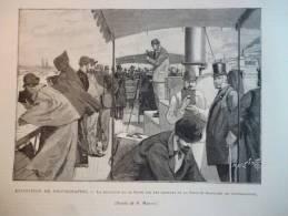 La Descente De La Seine Par Les Membres De La Société Française De Photographie , Gravure Dété Dessin Martin 1895 - Documents Historiques