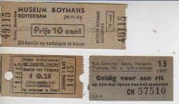 TICKETS ENTRADA AL MUSEUM BOYMANS  ROTTERDAM 1949  BOLETO DE TRANVIA DE LA HAYA 1949  FRANS HALSMUSEUM  HAARLEM  OHL - Biglietti Di Trasporto