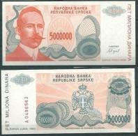 BOSNIA-HERZEGOVINA (SERBIAN REPUBLIC) BANJA LUKA 1993 5000000 DINARA P153 UNC -G - Bosnia Erzegovina