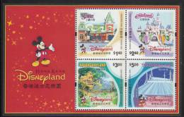 Hong Kong MNH Scott #1025a Souvenir Sheet Of 4 Hong Kong Disneyland - Main St., Fantasyland, Adventureland, Tomorrowland - 1997-... Région Administrative Chinoise