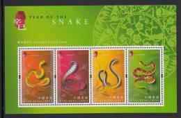 Hong Kong MNH Scott #921b Souvenir Sheet Of 4 Year Of The Snake - Chinese Lunar New Year - Neufs