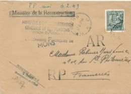 662/20 - Lettre Recommandée RP AR TP Exportation MONS 1949 - Franchise Totale , Sauf AR - 1948 Export