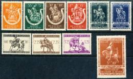 """1943 Belgium MNH (**) Complete Set Of 10 Semipostal Stamps """"WINTER HELP"""" Michel 614-623 - Belgium"""