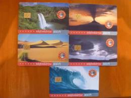 Hungary: Forces Of Nature 5 Pcs (desert, Volcano, Wave, Waterfall, Tornado) - Télécartes