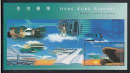 Hong Kong MNH Scott #821a Souvenir Sheet $5 Opening Of New Hong Kong Airport - Airplane In Sky - Neufs