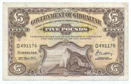 GIBRALTAR UK ENGLAND  5 POUND 1971 P 19 VF CONDITION - Gibraltar