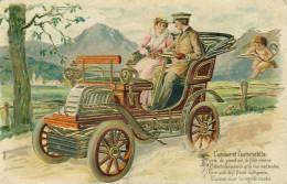 L'Amour Et L'Automobile  Carte En Relief Dorures  Cpa - Turismo