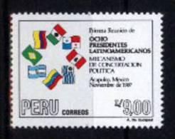 Peru 1988 YT878 ** Reunion 8 Presidentes: Banderas Argentina, Brasil, Colombia, Mexico, Panama,  Peru, Uruguay, Venezuel - Sin Clasificación