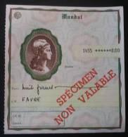 Cours D'instruction PTT Mandat Spécimen 8 Francs - Lehrkurse