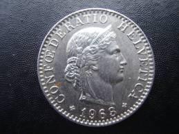SWITZERLAND 1963 B  TWENTY  RAPPEN Copper-nickel USED COIN In VERY GOOD CONDITION. - Suiza