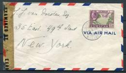 1943 Curacao New York Double Censor First Flight Cover - Curaçao, Nederlandse Antillen, Aruba