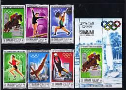 1968  Jeux Olympiques De Mexico équitation, Gymnastique, Haltérophilie, Course, Plongeon, Football Michel 489-94 Bl 40A* - Sharjah
