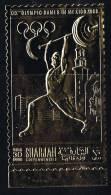 1968  Jeux Olympiques De Mexico  Haltérophilie Timbre Or Comme Michel 491 *  Gold Stamp - Sharjah