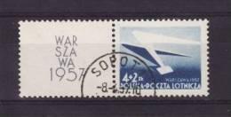Poland 1957 - Used (o) - Aériens Yv. 40 Avec Vignette , Mi. 1004 Zf - Warszawa Varsovie - Pologne Polen --- 60zn - 1944-.... République