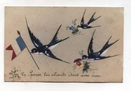 CPA  Fantaisie  : Drapeau En Relief De La FRANCE  Avec Hirondelles   A  VOIR  !!!!!!! - War 1914-18