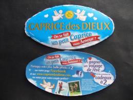 Etiquette Couvercle Fromage CAPRICE DES DIEUX St Valentin 300g + Contre-étiquette - Fromage