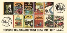 FRANCE 2007 N°13 Albums Fictifs + 2 Cachets Premier Jour FDC TINTIN KUIFJE TIM HERGE GUEBWILLER - Comics