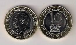 Kenya 10 Shillings 2010. UNC Bimetallic Bimetal - Kenia