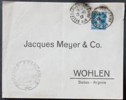 Enveloppe Douane Françaises, Bellegarde S/ Valserine --> Suisse ,affr. 25c  Semeuse YT 140 - France