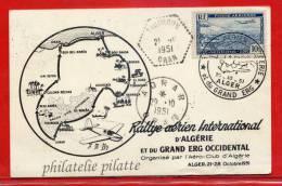 ALGERIE RALLYE AERIEN DU 20/10/1951 SUR CARTE - Algeria (1924-1962)