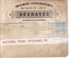 Facture De 1864 - PARIS - DESHAYES - Imprimerie Lithographique - Lettres De Change