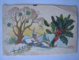 CPA Ancien Carte De Voeux Hiver Bouquet Houx En Relief - Papel Secante
