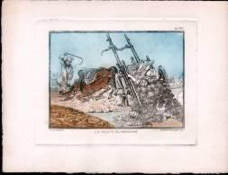 EAU FORTE: 22 X 16,8 Cm ( FORMAT DESSIN: 13 X 9,5 Cm) - SCHLUMBERGER - LA ROUTE DU MARCHE - Incisioni