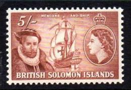 Solomon Islands QEII 1956 5/- Mendana & Ship Definitive, Lightly Hinged Mint (A) - Iles Salomon (...-1978)