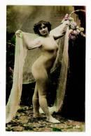 FEMME  1900  /  NUE  AVEC  COLLANT  ET  VOILETTE - Fine Nudes (adults < 1960)