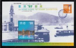 Hong Kong MNH Scott #776a Souvenir Sheet $10 Cityscape, Blue - Hong Kong '97 Series No. 4 - Hong Kong (...-1997)