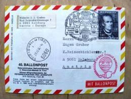 40. Ballonpost Card From Austria 1968 Cancel Balloon Innsbruck Kartograf Peter Anich, Coat Of Arms - 1945-.... 2nd Republic